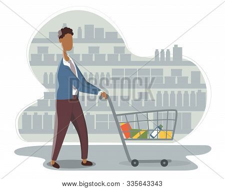 Funny African American Young Man With Shopping Cart Buying Food At Grocery Store. Cute Boy Walking A