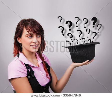 Young isolated woman looking for ideas and solutions