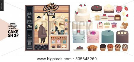 Cake Shop, Cakes On Demand - Small Business Graphics - Facade -modern Flat Vector Concept Illustrati