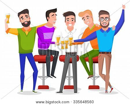 Group Of Smiling Men Drinking Beer, Groom With Friends Celebrating. Bachelor Party Indoor, Males Cha