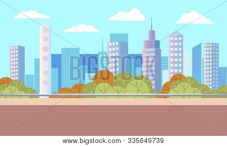 City Autumn Park With Empty Road. Beautiful Landscape On Background With Many Skyscrapers. Modern Do