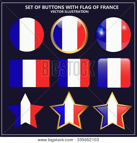 Bright Set Of Banners With Flag Of France. Happy France Day Illustration. Colorful Illustration With