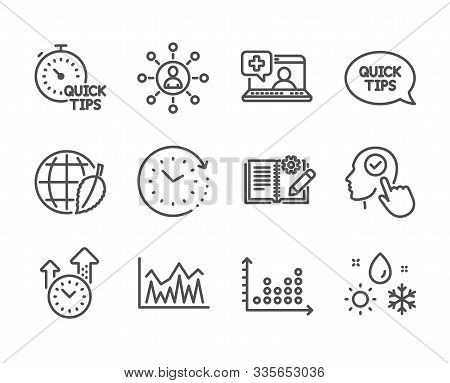 Set Of Science Icons, Such As Weather, Time Change, Engineering Documentation, Select User, Quick Ti