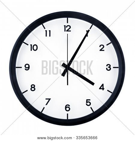 Classic analog clock pointing at four O five, isolated on white background.