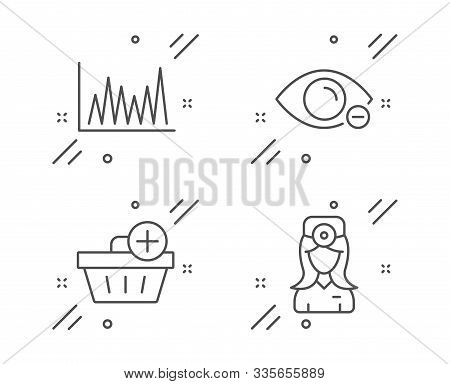 Myopia, Line Graph And Add Purchase Line Icons Set. Oculist Doctor Sign. Eye Vision, Market Diagram,