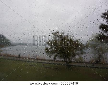 Drops Of Rain On The Windowpane. Along The Road At Kawaguchi Lake, Japan