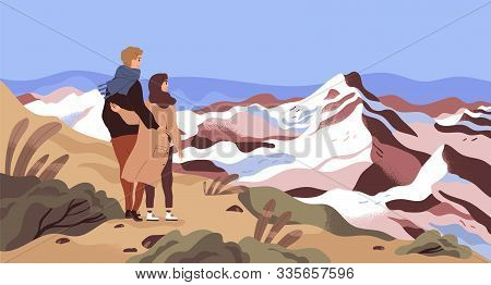 Mountain Rest Flat Vector Illustration. Enamored Couple, Tourists, Holiday Makers Admiring Scenery C