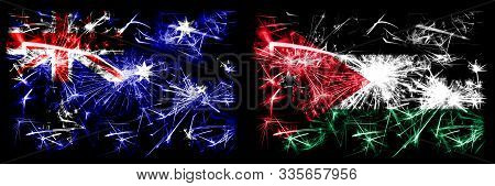 Australia, Ozzie Vs Jordan, Jordanian New Year Celebration Sparkling Fireworks Flags Concept Backgro