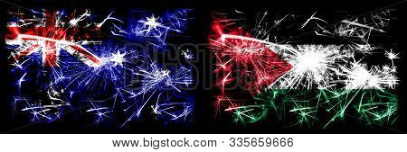 Australia, Ozzie Vs Palestine, Palestinian New Year Celebration Sparkling Fireworks Flags Concept Ba
