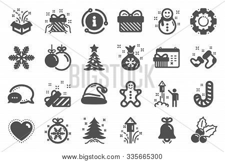 Christmas, New Year Icons. Santa Hat, Gingerbread Man And Gift Box Icons. Fireworks, Snowflake And C