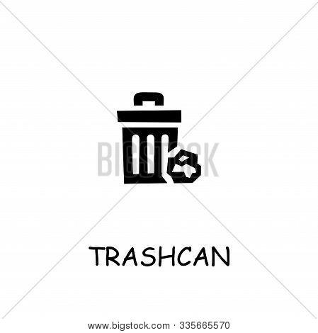 Trashcan Flat Vector Icon. Hand Drawn Style Design Illustrations.