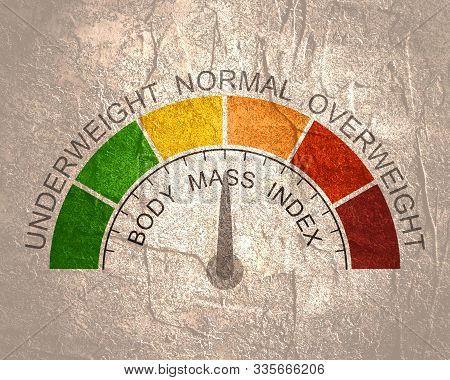Body Mass Index Meter Read Normal Level Result. Color Scale With Arrow From Red To Green. The Measur