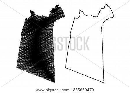 Ad Dakhiliyah Governorate (sultanate Of Oman, Governorates Of Oman) Map Vector Illustration, Scribbl
