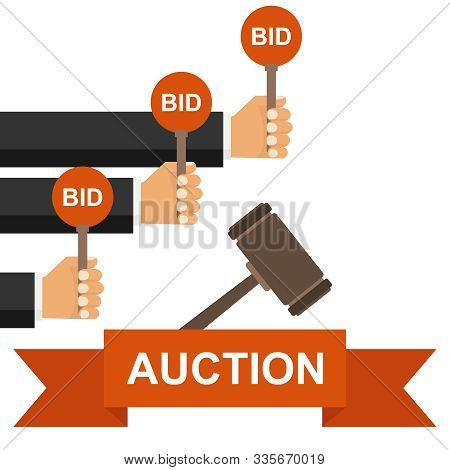 Hand Hold Paddle With Bid. Auction Meeting. Hand Holding Auction Paddle. Bidding Concept.