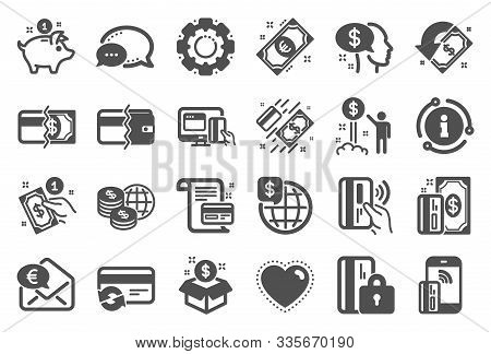 Money Wallet Icons. Update Credit Card, Contactless Payment And Piggy Bank Icons. Online Payment, Do