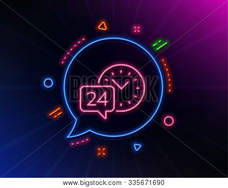 24 Hour Time Service Line Icon. Neon Laser Lights. Call Support Sign. Feedback Chat Symbol. Glow Las