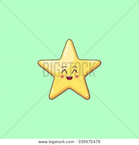 Cartoon Kawaii Golden Star With Grinning Face. Cute Star With 5 Rays, Childish Character With Cheerf