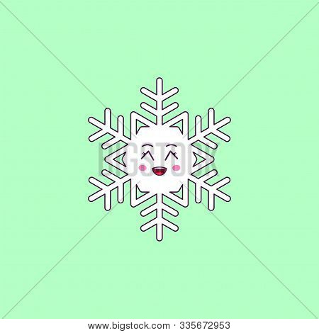 Cartoon Kawaii Snowflake With Grinning Face. Cute White Snowflake For Frosty Winter Season, Childish