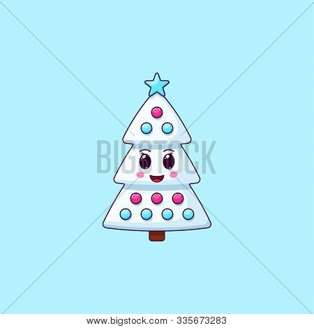 Cartoon Kawaii Christmas Tree With Cheerful Face. Cute White Christmas Tree With Decorations, Childi