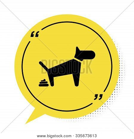 Black Dog Pooping Icon Isolated On White Background. Dog Goes To The Toilet. Dog Defecates. The Conc