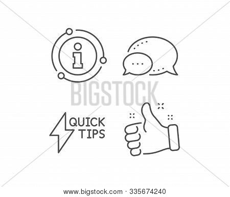 Quick Tips Line Icon. Chat Bubble, Info Sign Elements. Helpful Tricks Sign. Tutorials With Lightning