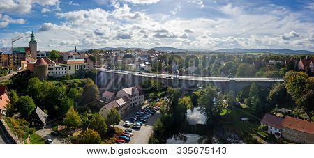 Bautzen, Germany - October 10, 2019: Panoramic View Of The Town (apartment Building, Bridge And Spre