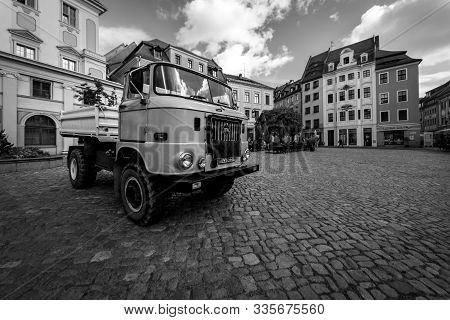 Bautzen, Germany - October 10, 2019: City Hall Square And A Medium-duty Truck Ifa W50 In The Foregro
