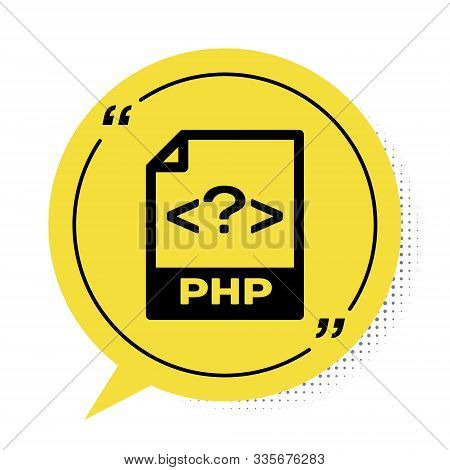 Black Php File Document. Download Php Button Icon Isolated On White Background. Php File Symbol. Yel