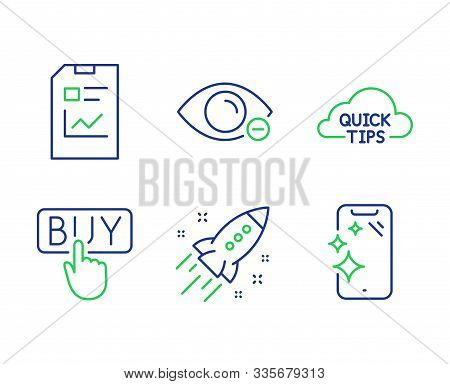 Myopia, Report Document And Quick Tips Line Icons Set. Buying, Startup Rocket And Smartphone Clean S