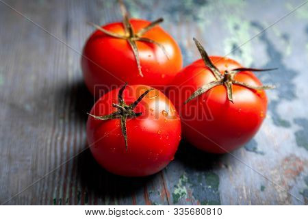 Tomato With Drops. Full Depth Of Field. Fresh Red Ripe Tomatoes For Use As Cooking Ingredients In Th