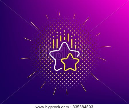 Ranking Stars Line Icon. Halftone Pattern. Star Rating Sign. Best Rank Symbol. Gradient Background.