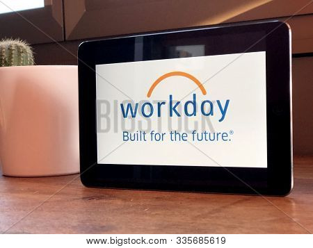 November 2019 Parma, Italy: Workday Company Logo Icon On Tablet Screen Close-up. Workday Visual Bran