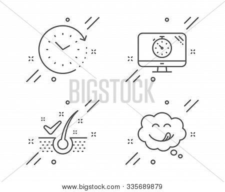 Anti-dandruff Flakes, Seo Timer And Time Change Line Icons Set. Yummy Smile Sign. Healthy Hair, Anal