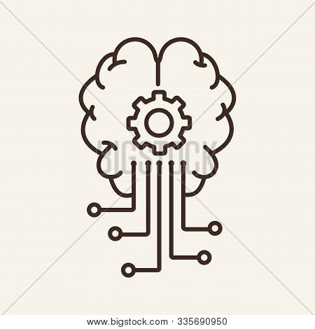 Artificial Intelligence Thin Line Icon. Brain, Brainwork, Gear, Circuit Board Isolated Outline Sign.