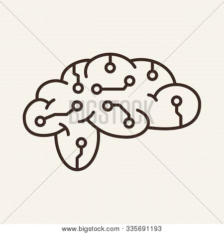 Brain Simulation Thin Line Icon. Brainwork, Neural Circuit, Ai, Machine Learning Isolated Outline Si