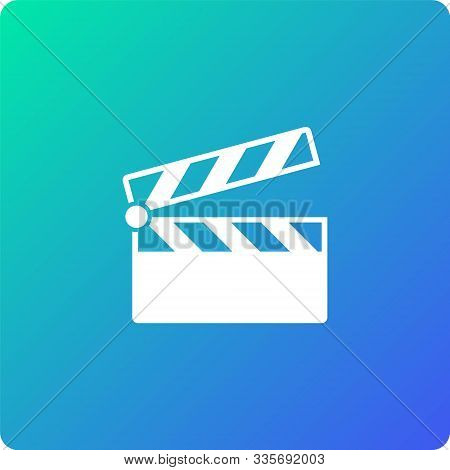 Movie Flap Vector Icon. Movie Flap Single Web Icon On Trendy Gradient