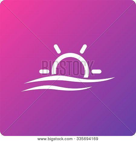 Sunset Vector Icon. Sunset Single Web Icon On Trendy Gradient