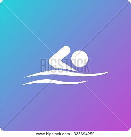 Swimmer Vector Icon. Swimmer Single Web Icon On Trendy Gradient