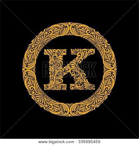 Premium, Elegant Capital Letter K In A Round Frame Is Made Of Floral Ornament. Baroque Style.elegant