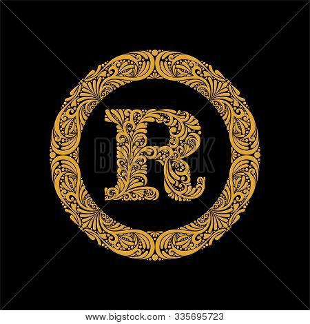 Premium, Elegant Capital Letter R In A Round Frame Is Made Of Floral Ornament. Baroque Style.elegant