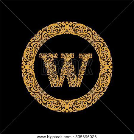 Premium, Elegant Capital Letter W In A Round Frame Is Made Of Floral Ornament. Baroque Style.elegant