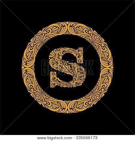 Premium, Elegant Capital Letter S In A Round Frame Is Made Of Floral Ornament. Baroque Style.elegant