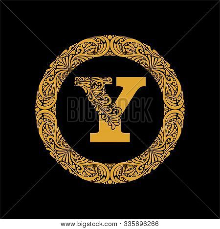 Premium, Elegant Capital Letter Y In A Round Frame Is Made Of Floral Ornament. Baroque Style.elegant