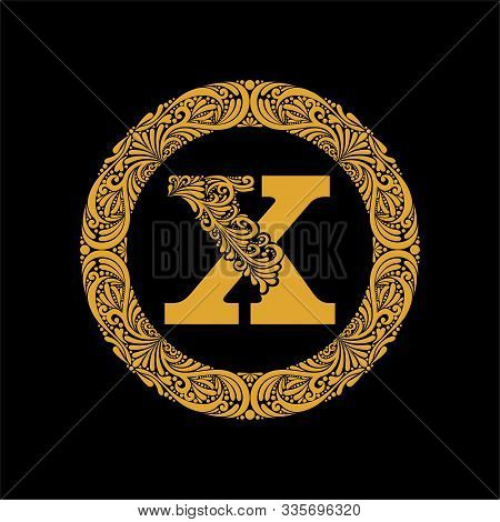 Premium, Elegant Capital Letter X In A Round Frame Is Made Of Floral Ornament. Baroque Style.elegant