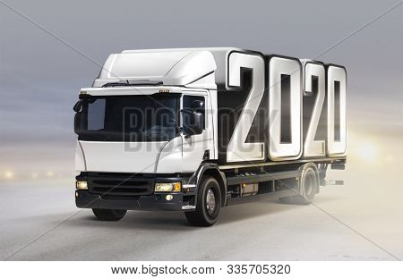 3d illustration of white truck delivers 2020 by new year in winter