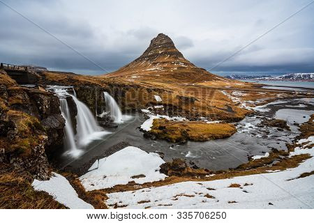 Famous Mountain With Waterfalls In Iceland, Aurora Borealis, Night, Kirkjufell, Winter In Iceland, I