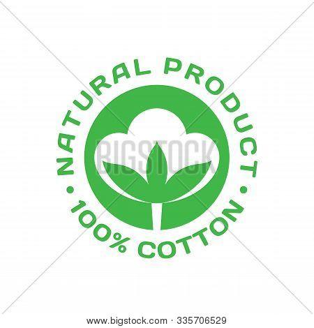 100% Cotton - Icon Badge Design.  Natural Fiber Product Logo Sign. Graphic Vector Illustration.
