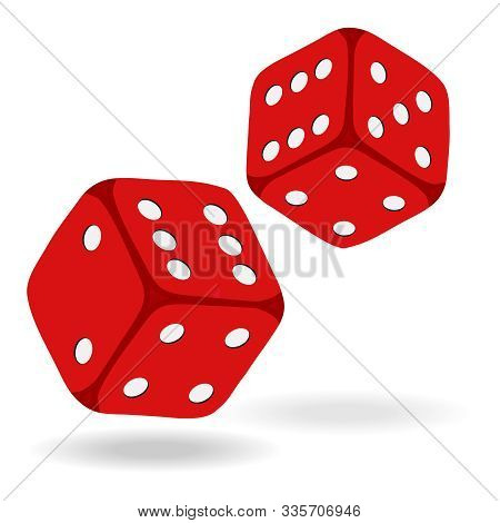 Game Dice In Flight. Casino Dice, Icon, Isolated On White, 3d Object, Red. Casino Gambling.