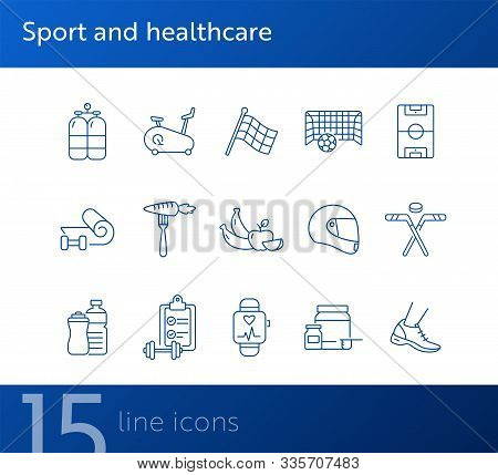 Sport And Healthcare Line Icon Set. Healthy Eating, Exercising, Game. Slimming Concept. Can Be Used