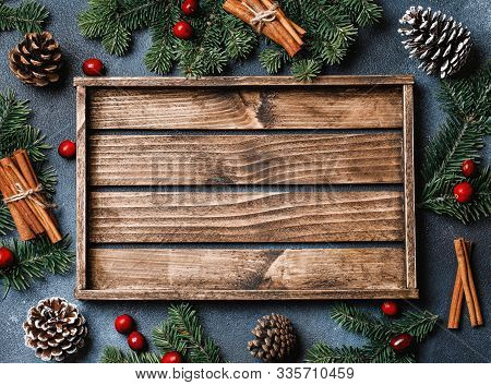 Christmas Background With Christmas Decor On Rustic Background. Christmas And New Year Theme. Top Vi